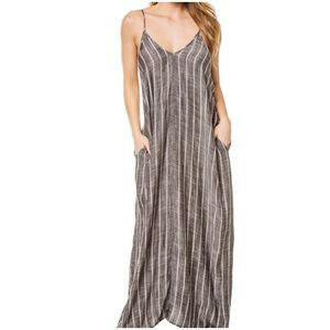 Elan Striped Maxi Cover-Up Gray White Medium
